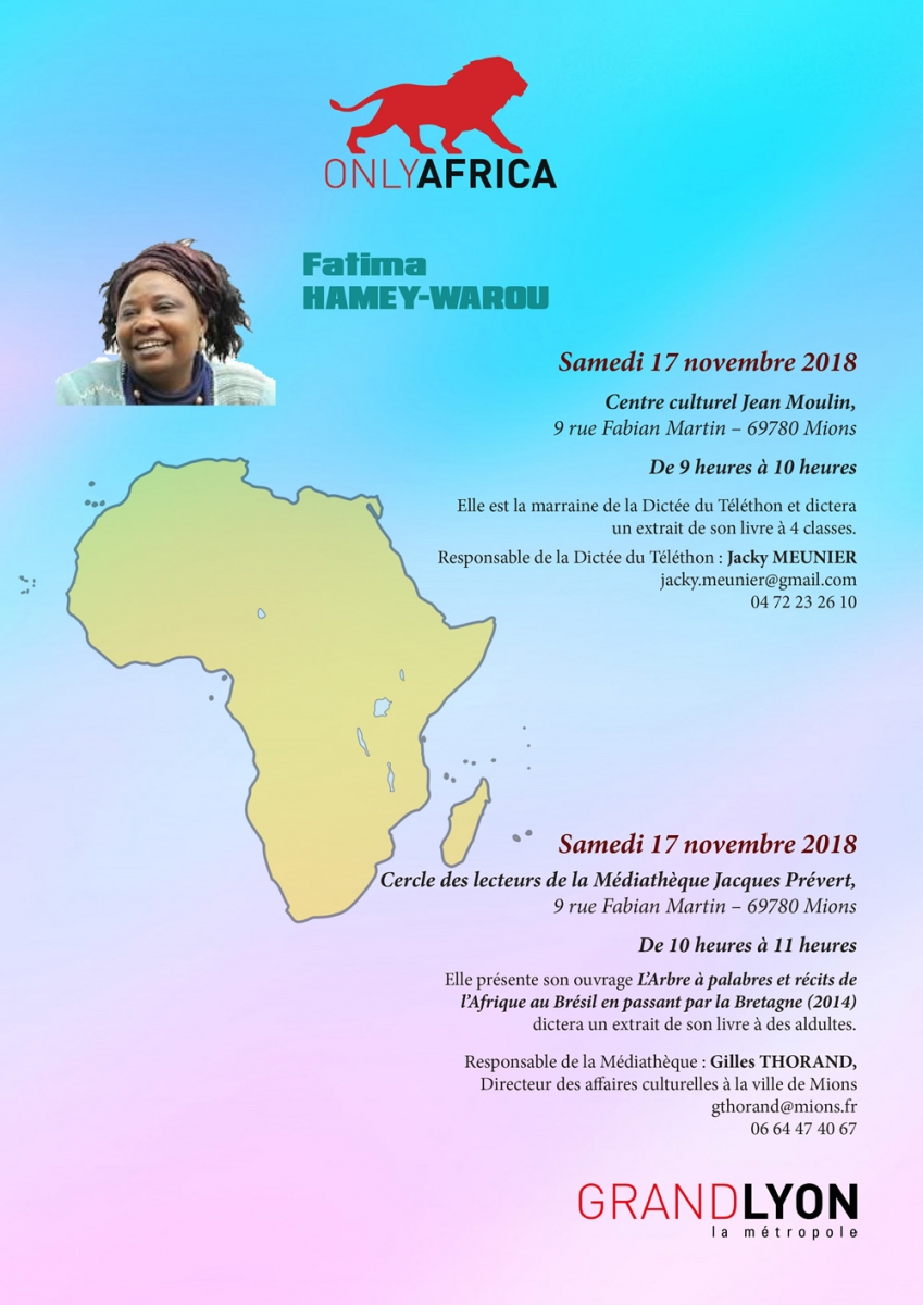 AFRICA 50 - FILACO 2018 - FLYER - Fatima HAMEY-WAROU à Mions samedi 17 novembre